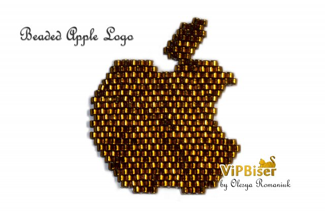 Beaded Apple Logo. Photo by Olesya Romaniuk
