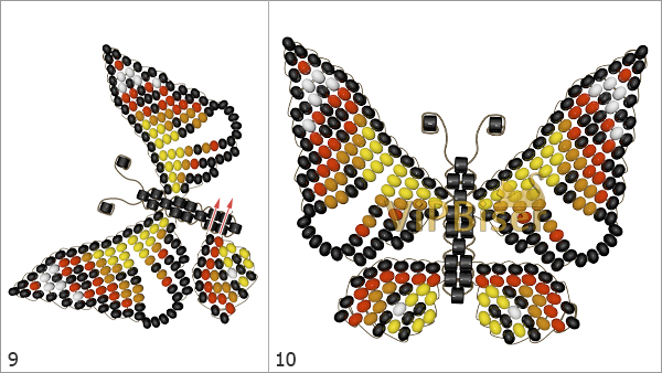 Beaded Butterfly Admiral. Tutorial. Step 3