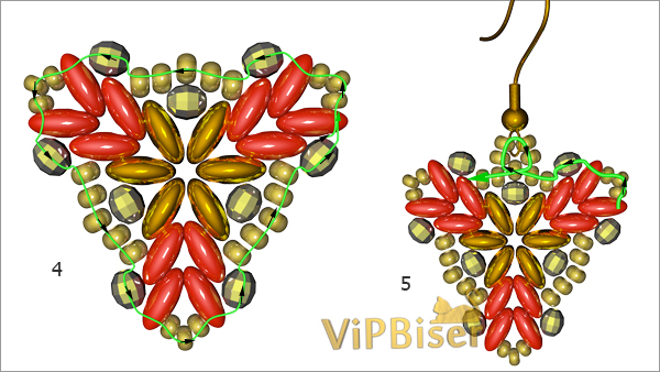Beaded Earrings with SuperDuo and SeedBeads. Tutorial. Pattern 2
