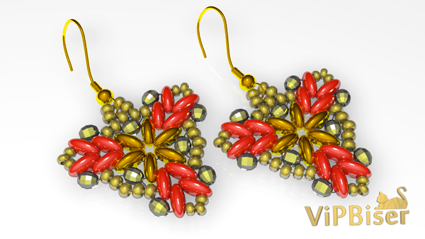 Beaded Earrings with SuperDuo and SeedBeads. Tutorial. Pattern 3