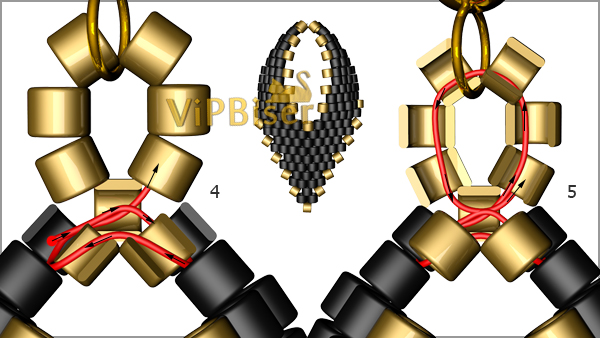 Black&Gold Beaded Earrings. Tutorial. Pattern 3