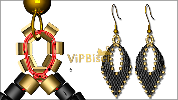 Black&Gold Beaded Earrings. Tutorial. Pattern 4