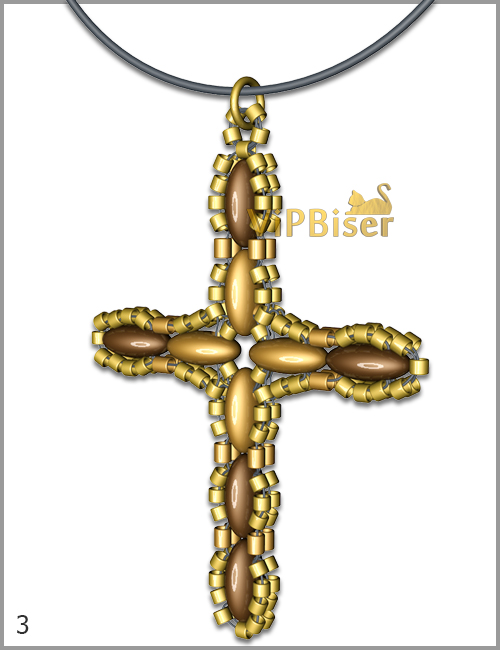 Beaded Pendant Cross with SuperDuo. Tutorial. Pattern 3