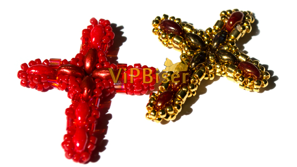 Beaded Pendant Cross with SuperDuo. Tutorial. Photo