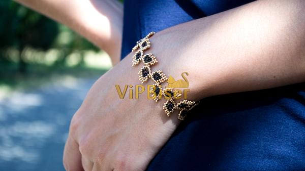 Beaded Bracelet Gold Leaves. Tutorial. Photo 2 by Olesya Romaniuk