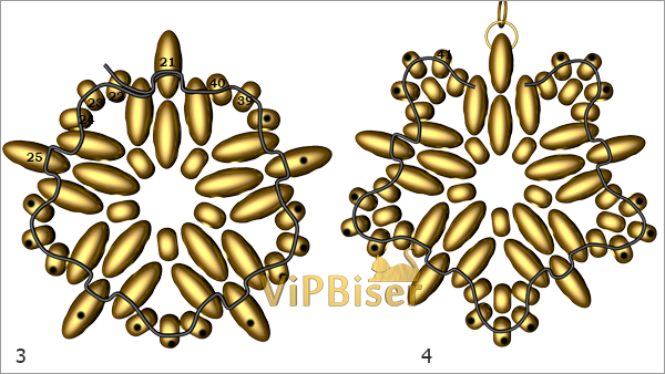 Gold Beaded Earrings with SuperDuo. Tutorial. Pattern 2