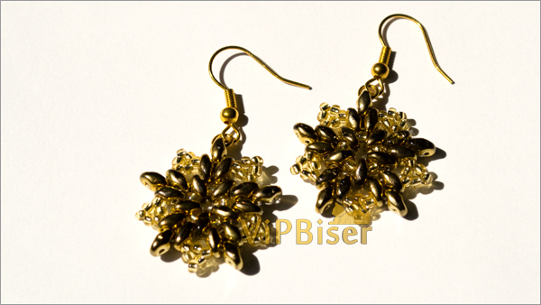 Gold Beaded Earrings with SuperDuo. Tutorial. Photo 1