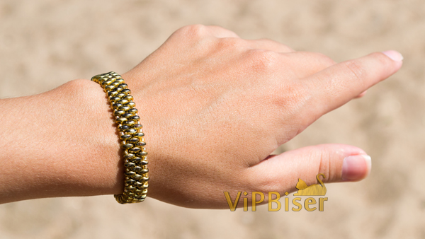 Gold Beaded Bracelet with SuperDuo. Tutorial. Photo 1