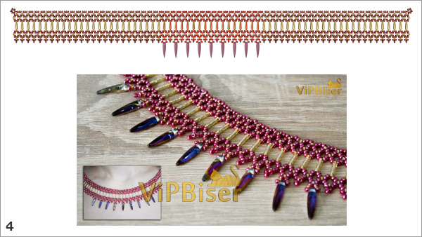 Beaded Necklace with Bugle and Thorn Beads. 3D Beading Tutorial. Pattern 3