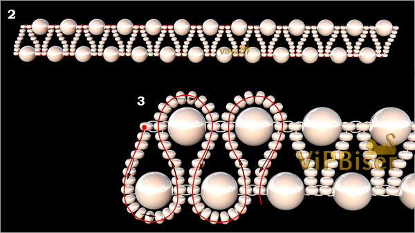 Beaded Bracelet with Pearls. 3D Beading Tutorial. Pattern 2