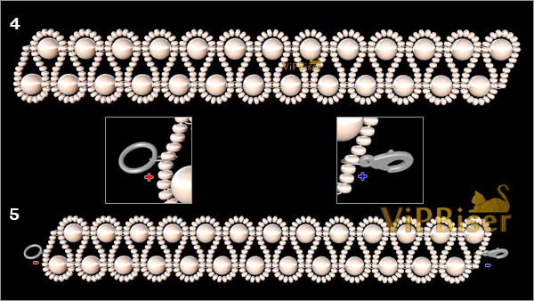 Beaded Bracelet with Pearls. 3D Beading Tutorial. Pattern 3