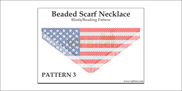Beaded Scarf Necklace. Pattern 3. American Flag
