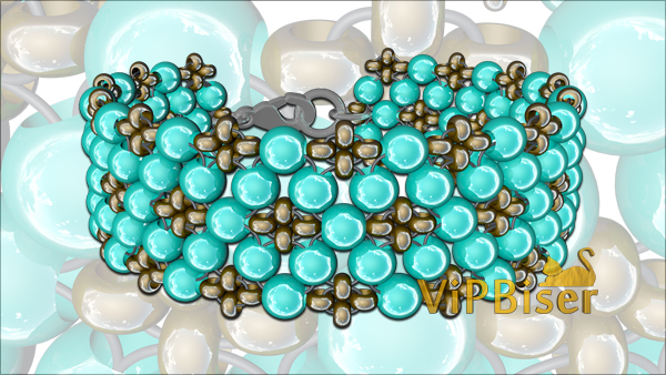 Bracelet with Turquoise Beads. Easy 3D Beading Tutorial for Beginners