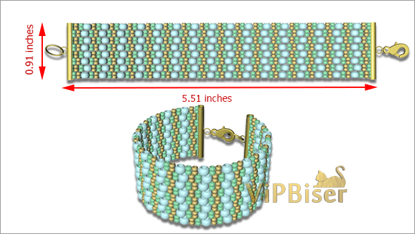Beaded Bracelet Turquoise. Tutorial. Pattern 3