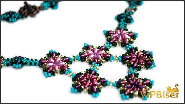 Beaded Necklace Apple Blossom. Photo 1