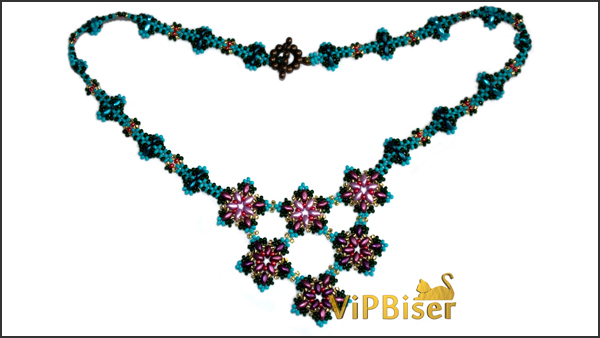 Beaded Necklace Apple Blossom. Photo 2