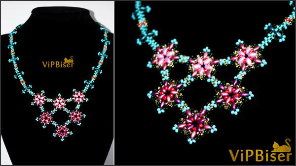 Beaded Necklace Apple Blossom. Photo 4