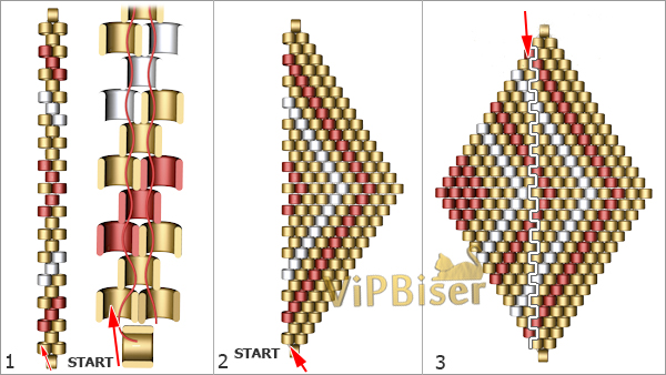 Beaded Pendant&Earrings Rhomb. Tutorial. Pattern 1