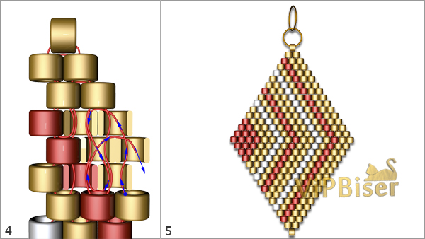 Beaded Pendant&Earrings Rhomb. Tutorial. Pattern 2