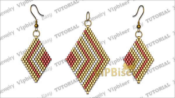 Beaded Pendant&Earrings Rhomb. Tutorial. Pattern