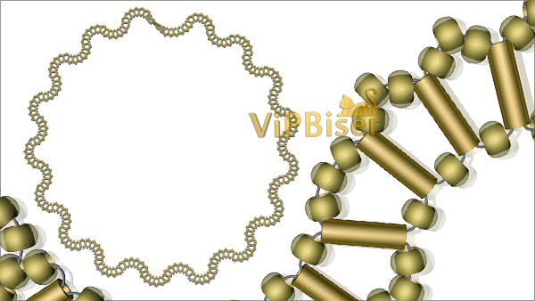 Gold Wave Beaded Necklace. Tutorial. Pattern 6