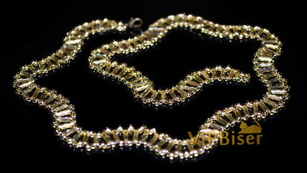 Gold Wave Beaded Necklace. Tutorial. Photo 1 by Olesya Romaniuk