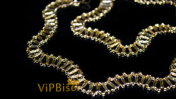 Gold Wave Beaded Necklace. Tutorial. Photo 2 by Olesya Romaniuk