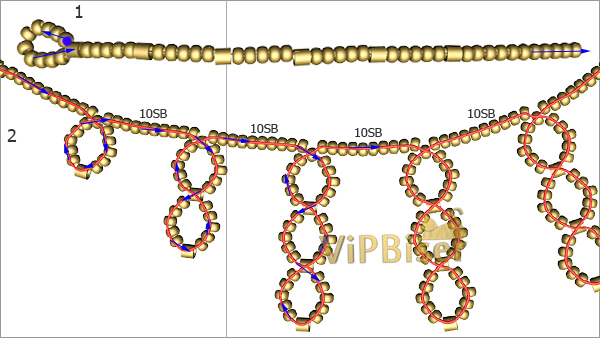 Sparkly Gold Beaded Necklace. Tutorial. Pattern 1