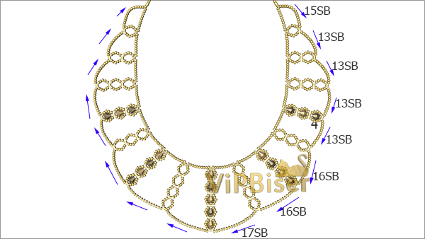 Sparkly Gold Beaded Necklace. Tutorial. Pattern 3