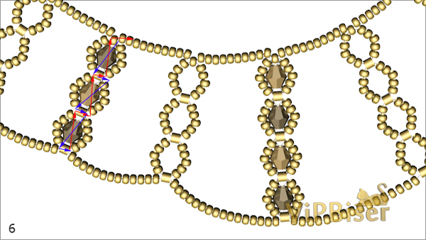 Sparkly Gold Beaded Necklace. Tutorial. Pattern 4