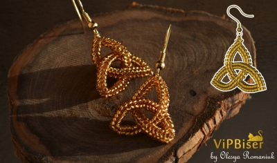 Beaded Earrings Celtic Knot Triquetra. 3D Tutorial