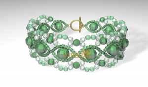 Beaded Emerald Bracelet. 3D Tutorial