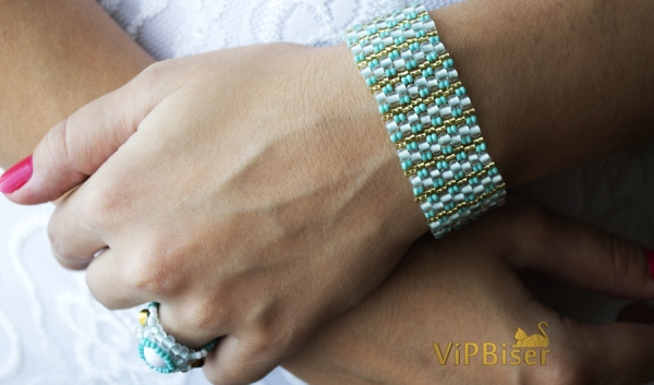 Beaded Bracelet Turquoise. 3D Tutorial