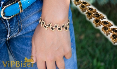 Beaded Bracelet Gold Leaves. 3D Tutorial