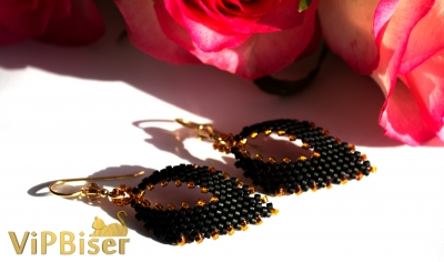 Black&Gold Beaded Earrings. 3D Tutorial