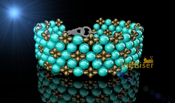 Simple Beaded Bracelet with Turquoise Beads. 3D Tutorial