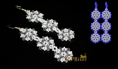 Beaded Snowflake Earrings. 3D Tutorial