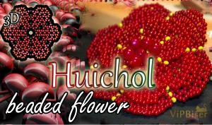 Huichol Beaded Flower. 3D Beading Tutorial