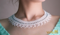 Beautiful and Delicate Bugle Bead Necklace in White and Blue Color. 3D Tutorial
