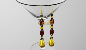Beaded Long Earrings. 3D Tutorial