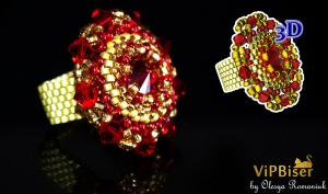 Beaded Ring with Swarovski. 3D Tutorial