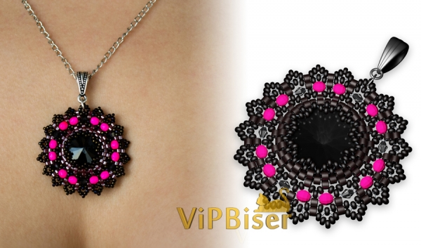 Black Beaded Pendant. 3D Tutorial