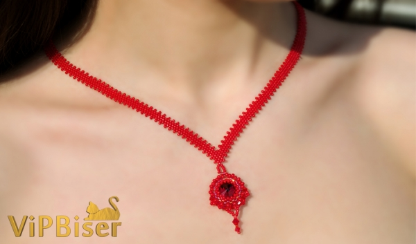 Red Beaded Pendant with Peyote Chain. 3D Tutorial
