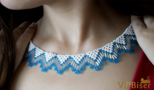Beaded Necklace with Seed&Bugle Beads. 3D Tutorial