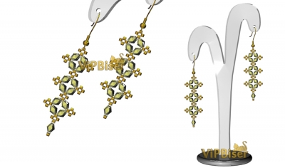 Beaded Earrings. Elegance. 3D Tutorial
