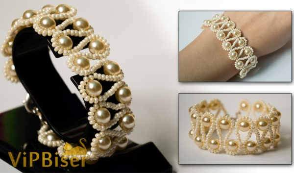 Beaded Bracelet with Pearls. 3D Tutorial