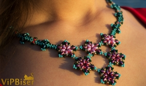 Beaded Necklace Apple Blossom. 3D Tutorial